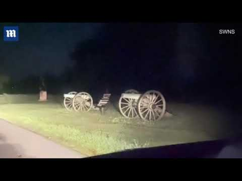 Two 'spooky apparitions are spotted running across the road at Gettysburg Site